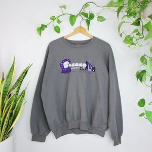 Embroidered Oversized Grey Crew Neck Sweater XXL